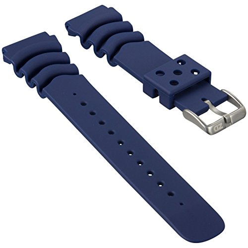 Cinturino orologio ZULUDIVER Sport Immersione PU Gomma Blu 20mm per SEIKO