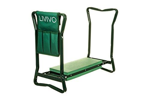 Livivo, inginocchiatoio pieghevole portatile multi uso per giardinaggio, regolabile per l'uso come panca, sgabello, sedia o inginocchiatoio con imbottitura in gomma, fornito di una tasca porta attrezzi