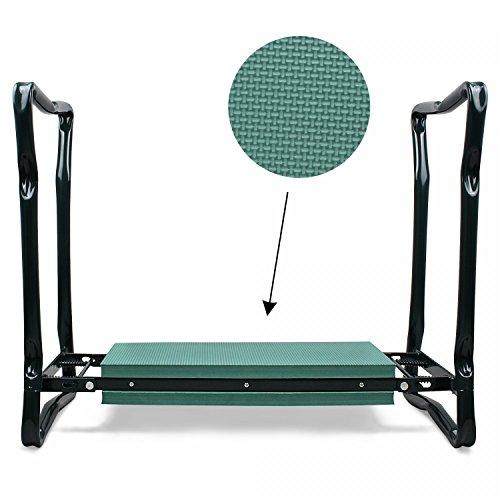 Leogreen - Panca Da Giardino Inginocchiatoio, Sgabello Da Giardinaggio, Verde, Dimensioni letto disteso: 62 x 48 x 28 cm