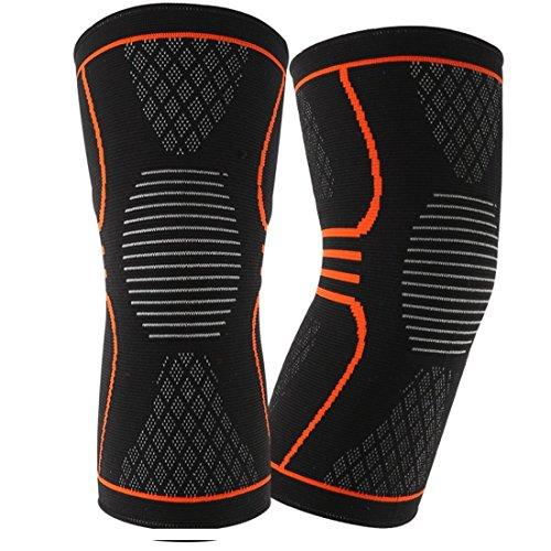 EveShine Ginocchiera a compressione per ginocchio (1 paio), miglior supporto a maglia per ginocchio con strisce di gel per la corsa, sport, jogging, basket - Meniscus Lacrima, artrite - Large