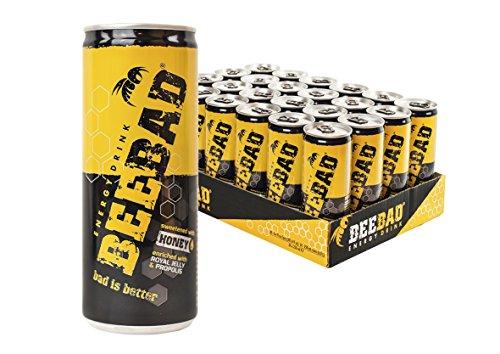 BEEBAD Energy Drink - prodotto made in ITALY dal gusto buono e fresco - dolcificato solo con Miele a base di ingredienti naturali (cartone da 24 lattine da 250ml)
